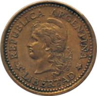 obverse of 20 Centavos (1970 - 1976) coin with KM# 67 from Argentina. Inscription: REPUBLICA ARGENTINA * LIBERTAD *