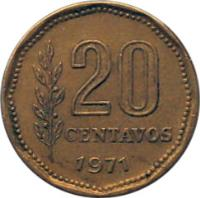 reverse of 20 Centavos (1970 - 1976) coin with KM# 67 from Argentina. Inscription: 20 CENTAVOS 1975