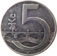 reverse of 5 Korun (1993 - 2017) coin with KM# 8 from Czech Republic. Inscription: Kč 5