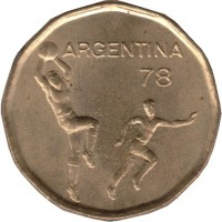 obverse of 20 Pesos - World Football Championship (1977 - 1978) coin with KM# 75 from Argentina. Inscription: ARGENTINA 78