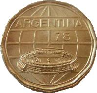 obverse of 100 Pesos - Soccer (1977 - 1978) coin with KM# 77 from Argentina. Inscription: ARGENTINA 78