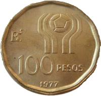 reverse of 100 Pesos - Soccer (1977 - 1978) coin with KM# 77 from Argentina. Inscription: 100 PESOS 1977