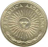 obverse of 1 Peso (1974 - 1976) coin with KM# 69 from Argentina. Inscription: REPUBLICA ARGENTINA