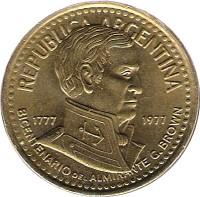 obverse of 10 Pesos - Admiral G. Brown (1977) coin with KM# 74 from Argentina. Inscription: REPUBLICA ARGENTINA 1777 1977 BICENTENARIO DEL ALMIRANTE G. BROWN