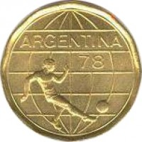 obverse of 50 Pesos - Soccer (1977 - 1978) coin with KM# 76 from Argentina. Inscription: ARGENTINA 78