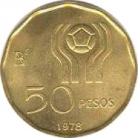 reverse of 50 Pesos - Soccer (1977 - 1978) coin with KM# 76 from Argentina. Inscription: 50 PESOS 1977
