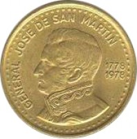 obverse of 50 Pesos - José de San Martín Bicentennial (1978) coin with KM# 81 from Argentina. Inscription: GENERAL JOSE DE SAN MARTIN 1778 1978