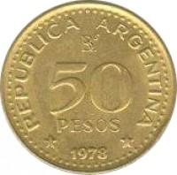 reverse of 50 Pesos - José de San Martín Bicentennial (1978) coin with KM# 81 from Argentina. Inscription: REPUBLICA ARGENTINA 50 PESOS * 1978 *