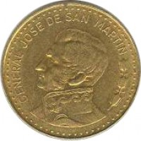 obverse of 100 Pesos - Non magnetic (1978 - 1980) coin with KM# 85 from Argentina. Inscription: GENERAL JOSE DE SAN MARTIN