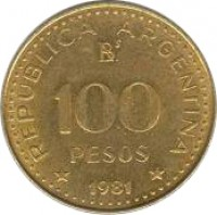 reverse of 100 Pesos - Non magnetic (1978 - 1980) coin with KM# 85 from Argentina. Inscription: REPUBLICA ARGENTINA B 100 PESOS * 1978 *