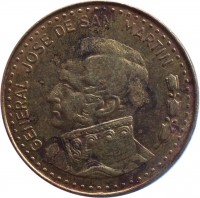 obverse of 50 Pesos - Magnetic (1980 - 1981) coin with KM# 83a from Argentina. Inscription: GENERAL JOSE DE SAN MARTIN