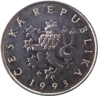 obverse of 1 Koruna (1993 - 2017) coin with KM# 7 from Czech Republic. Inscription: ČESKÁ REPUBLIKA 1993