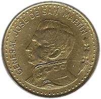 obverse of 100 Pesos - Magnetic (1980 - 1981) coin with KM# 85a from Argentina. Inscription: GENERAL JOSE DE SAN MARTIN