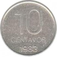 reverse of 10 Centavos (1983) coin with KM# 89 from Argentina. Inscription: 10 CENTAVOS 1983