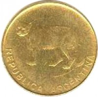 obverse of 5 Centavos (1985 - 1988) coin with KM# 97 from Argentina. Inscription: REPUBLICA ARGENTINA