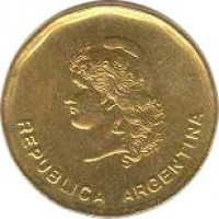 obverse of 50 Centavos (1985 - 1988) coin with KM# 99 from Argentina. Inscription: REPUBLICA ARGENTINA