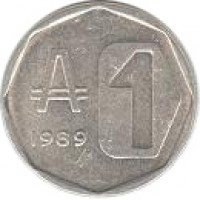 reverse of 1 Austral (1989) coin with KM# 100 from Argentina. Inscription: 1989 1