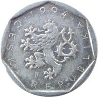 obverse of 20 Haléřů (1993 - 2004) coin with KM# 2 from Czech Republic. Inscription: · 1994 · ČESKÁ REPUBLIKA