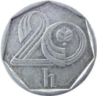 reverse of 20 Haléřů (1993 - 2004) coin with KM# 2 from Czech Republic. Inscription: 20 h