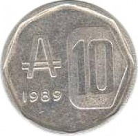 reverse of 10 Australes (1989) coin with KM# 102 from Argentina. Inscription: 1989 10