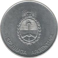 obverse of 1000 Australes (1990 - 1991) coin with KM# 105 from Argentina. Inscription: REPUBLICA ARGENTINA