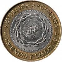 obverse of 2 Pesos - May Revolution (2010 - 2014) coin with KM# 165 from Argentina. Inscription: REPÚBLICA ARGENTINA EN UNIÓN Y LIBERTAD