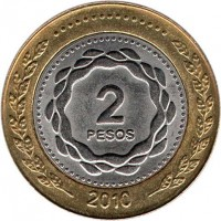 reverse of 2 Pesos - May Revolution (2010 - 2014) coin with KM# 165 from Argentina. Inscription: 2 PESOS 2010