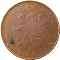 obverse of 10 Korun (1993 - 2017) coin with KM# 4 from Czech Republic. Inscription: ČESKÁ REPUBLIKA · 1993 ·