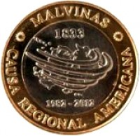 obverse of 2 Pesos - 30th Anniversary of the South Atlantic War (2012) coin with KM# 176 from Argentina. Inscription: *MALVINAS* 1833 1982-2012 CAUSA REGIONAL AMERICANA