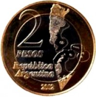 reverse of 2 Pesos - 30th Anniversary of the South Atlantic War (2012) coin with KM# 176 from Argentina. Inscription: 2 PESOS República Argentina 2012