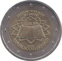 obverse of 2 Euro - 50th anniversary of the Treaty of Rome (2007) coin with KM# 3150 from Austria. Inscription: VERTRAG VON ROM 50 JAHRE EUROPA 2007 REPUBLIK ÖSTERREICH