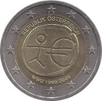 obverse of 2 Euro - 10th anniversary of Economic and Monetary Union (2009) coin with KM# 3175 from Austria. Inscription: REPUBLIK ÖSTERREICH WWU 1999 - 2009
