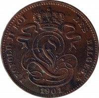 obverse of 1 Centime - Leopold II - French text (1869 - 1907) coin with KM# 33 from Belgium. Inscription: LEOPOLD II ROI DES BELGES 1901