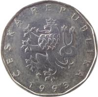 obverse of 2 Koruny (1993 - 2017) coin with KM# 9 from Czech Republic. Inscription: ČESKÁ REPUBLIKA 1993