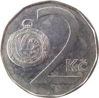 reverse of 2 Koruny (1993 - 2017) coin with KM# 9 from Czech Republic. Inscription: 2 Kč