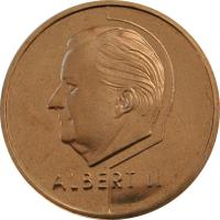 obverse of 20 Francs - Albert II - French text (1994 - 2001) coin with KM# 191 from Belgium. Inscription: ALBERT II