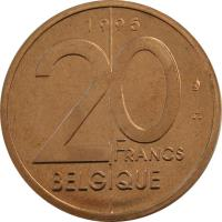 reverse of 20 Francs - Albert II - French text (1994 - 2001) coin with KM# 191 from Belgium. Inscription: 20 FRANCS BELGIQUE 1996