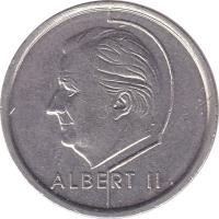 obverse of 1 Franc - Albert II - French text (1994 - 2001) coin with KM# 187 from Belgium. Inscription: ALBERT II