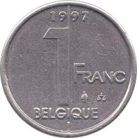 reverse of 1 Franc - Albert II - French text (1994 - 2001) coin with KM# 187 from Belgium. Inscription: 1 FRANC BELGIQUE 1996