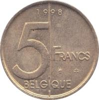 reverse of 5 Francs - Albert II - French text (1994 - 2001) coin with KM# 189 from Belgium. Inscription: 5 FRANCS BELGIQUE 1996
