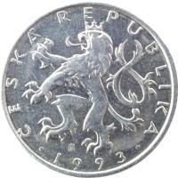 obverse of 50 Haléřů (1993 - 2009) coin with KM# 3 from Czech Republic. Inscription: ČESKÁ REPUBLIKA · 1993 ·