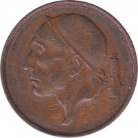 obverse of 50 Centimes - Baudouin I - French text; Larger head (1952 - 1955) coin with KM# 144 from Belgium. Inscription: RAU