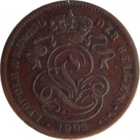 obverse of 2 Centimes - Leopold II - Dutch text (1902 - 1909) coin with KM# 36 from Belgium. Inscription: LEOPOLD II KONING DER BELGEN ** 1902