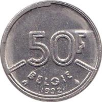 reverse of 50 Francs - Baudouin I - Dutch text (1987 - 1993) coin with KM# 169 from Belgium. Inscription: 50F BELGIË 1991