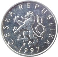 obverse of 10 Haléřů (1993 - 2005) coin with KM# 6 from Czech Republic. Inscription: ČESKÁ REPUBLIKA · 1997 ·