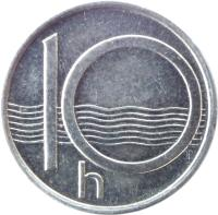 reverse of 10 Haléřů (1993 - 2005) coin with KM# 6 from Czech Republic. Inscription: 10 h