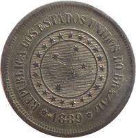 obverse of 100 Réis (1889 - 1900) coin with KM# 492 from Brazil. Inscription: REPUBLICA DOS ESTADOS UNIDOS DO BRAZIL 1889