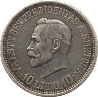 reverse of 10 Litų - 20th anniversary of Republic (1938) coin with KM# 84 from Lithuania. Inscription: VALSTYBĖS PREZIDENTAS A. SMETONA 10 LITŲ 10