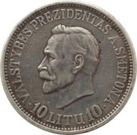 reverse of 10 Litų - 20th anniversary of Republic (1938) coin with KM# 84 from Lithuania. Inscription: VALSTYBĖS PREZIDENTAS A. SMETONA 10 LITŲ 10