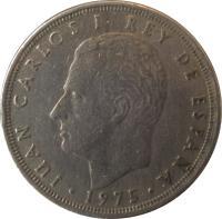 obverse of 25 Pesetas - Juan Carlos I (1975) coin with KM# 808 from Spain. Inscription: JUAN CARLOS I REY DE ESPAÑA · 1975 ·